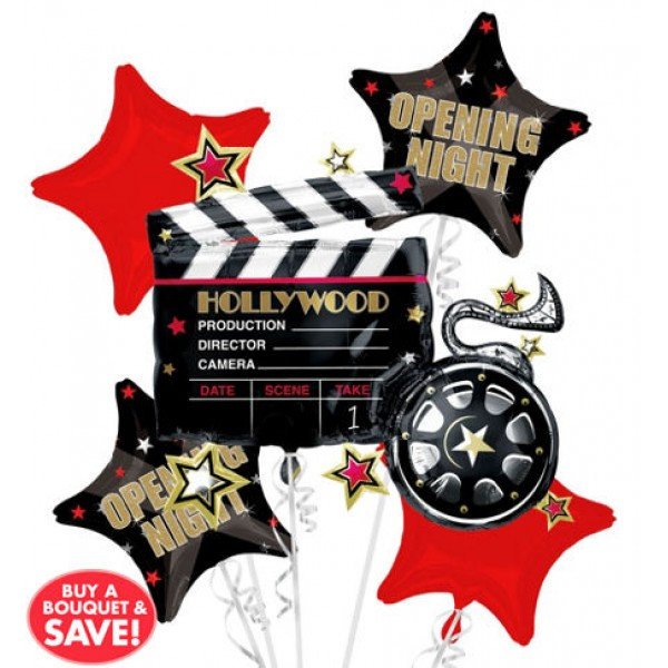 Hollywood Opening Night Balloon Bouquet 5pc Anagram