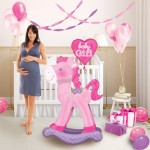"""Pink Baby Boy Rocking Horse Airwalker Balloon 23"""" x 50"""" inch"""