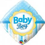 Qualatex 18 inch Diamond Baby Boy Dots & Stripes