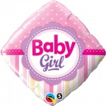 Qualatex 18 inch Diamond Baby Girl Dots & Stripes