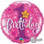 Qualatex 18 inch Holographic 1st Birthday Stars Pink