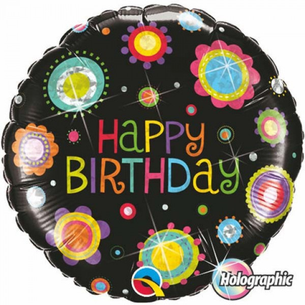 Qualatex 18 inch Holographic Birthday Funky Dots Qualatex