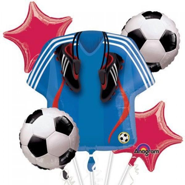 Soccer Jersey & Soccer Ball Balloon Bouquet 5pcs Anagram