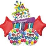 Happy Birthday Celebration Cake Balloon Bouquet 5 pcs