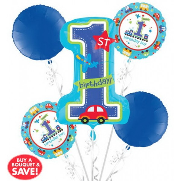 Balloon Bouquet Pack - 1st Birthday Balloon Bouquet 5pc - All Aboard