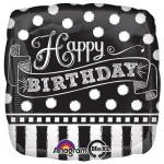 Anagram 17 inch Happy Birthday Black & White