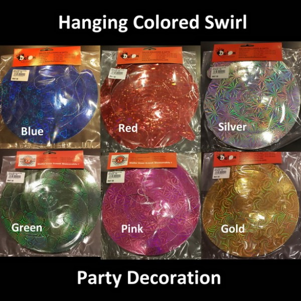 Hanging Colored Swirl Party Decoration ~ 6 colors