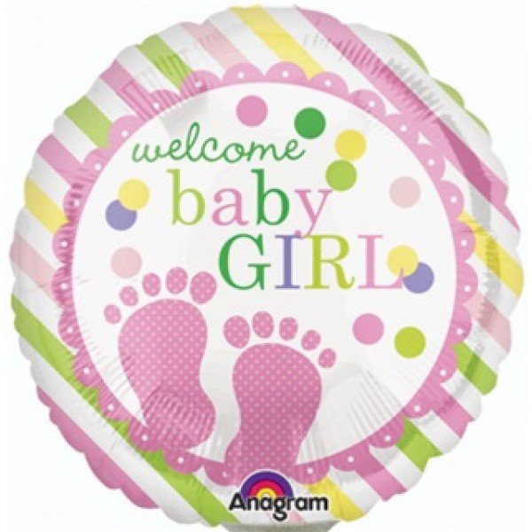 Anagram welcome baby girl feet 18 inch balloon from for Baby welcome home decoration