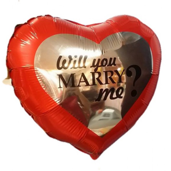 Love & Affection - Heart Shape 18 Inch Will You Marry Me Foil Balloon