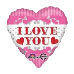 Anagram 17 Inch Silver and Red Hearts I Love You