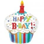 Anagram 36 x 29 inch Happy Birthday Striped Cupcake