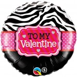 Qualatex 18 inch To My Valentine Zebra Stripes