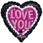 Anagram 18 inch Love You Pink & Black