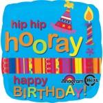 "Hip Hip Hooray 18"" Inch Happy Birthday Balloon"