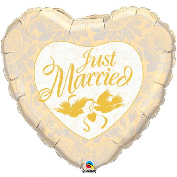 Qualatex 36 Just Married Ivory & Gold Qualatex