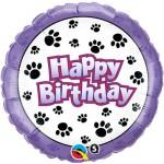 "Qualatex 18"" Inch Happy Birthday Paw Print"