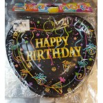 "Black Heart Shape Happy Birthday 7"" Inch Paper Plate ~ 10pcs"