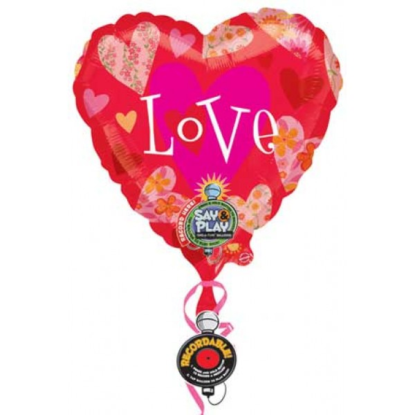 Love & Affection - Anagram 32 inch Floral Hearts Love Jumbo Recordable