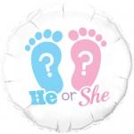 "Qualatex He or She Footprints 18"" Inch Balloon"