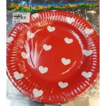 """Red White Heart 7"""" Inch Paper Plate ~ 10pcs"""