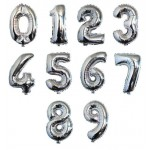 "40"" Inch Silver Giant Number Foil Balloons 0-9"