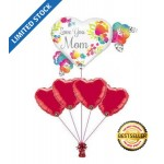 Love You Mom Red Hearts Balloon Bouquet 5pc