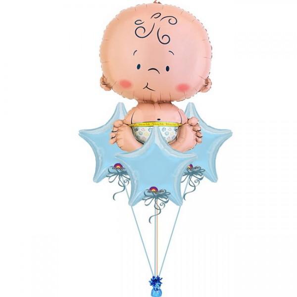 New Baby Born Boy Balloon Bouquet 4pc