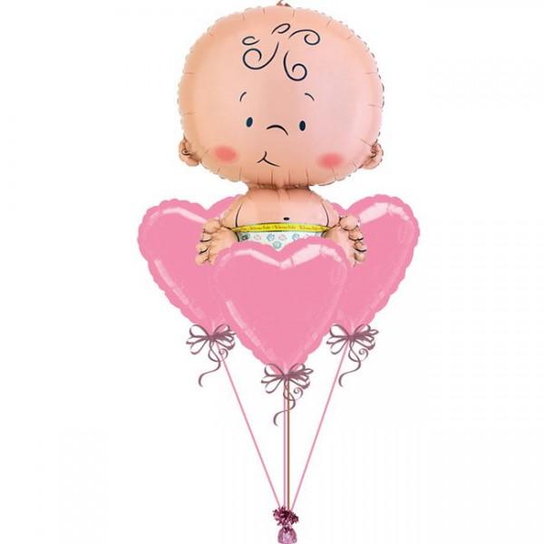 New Baby Born GirlBalloon Bouquet 4pc