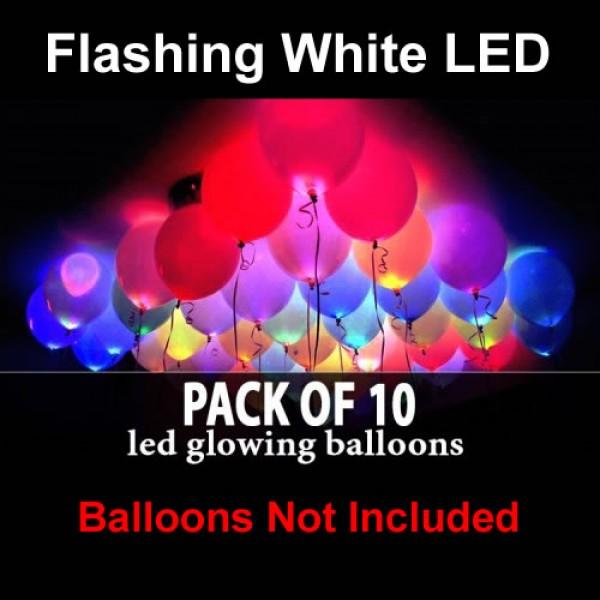 Flashing White LED Balloon Light ~ 10 pcs