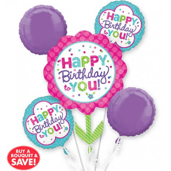 Pink & Teal Birthday Bouquet 5pc
