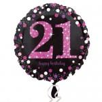 Anagram 18 inch 21st Sparkling Pink