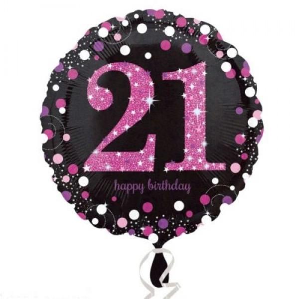 Anagram 21st Sparkling Pink 18 Inch Birthday Balloon