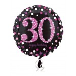 "Anagram Age 30 Sparkling Pink 18"" Inch Birthday Balloon"