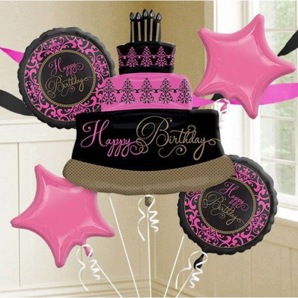 Damask Birthday Fabulous Celebration Balloon Bouquet 5pc From