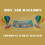 Hot Air Balloon Colorful Happy Birthday Banner