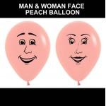 """Sempertex 12"""" Inch Man And Woman Face Peach Balloon ~ 20pcs"""