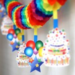 Rainbow Party Paper Garland With Cake Cards