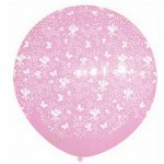 Sempertex 3ft AO Butterfly & Flowers Satin Pink Balloon 409