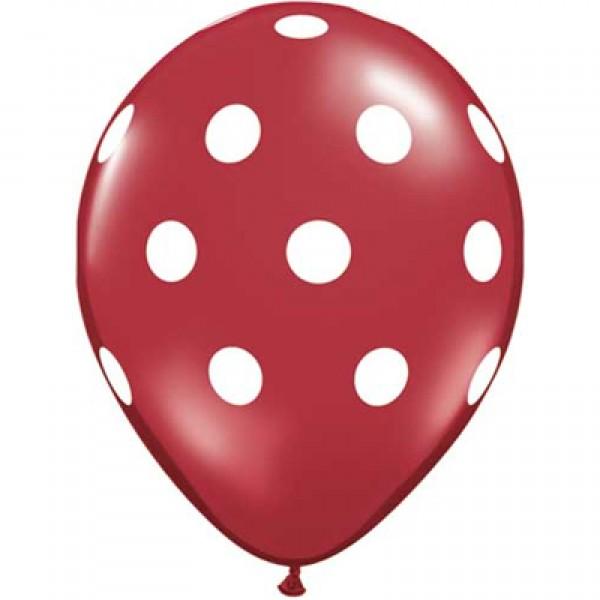 12 AO White Dots Red ~ 10pcs