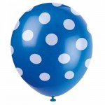"""Mytex 12"""" Inch AO White Polka Dots Blue ~ 10pcs"""
