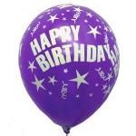 """Mytex 12"""" Inch AO Happy Birthday Metallic Violet ~ 10pcs"""