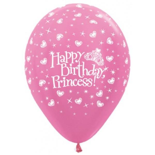 Sempertex 12 Inch AO Birthday Princess Fuchsia ~ 10pcs