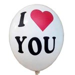 "Sempertex 12"" Inch I Love You White Color Balloon ~ 10pcs"