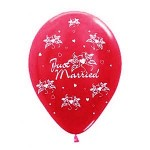 """Sempertex 12"""" Inch AO Just Married Red ~ 10pcs"""