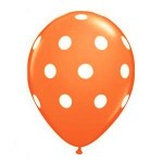 "Mytex 12"" Inch AO White Polka Dots Orange ~ 10pcs"