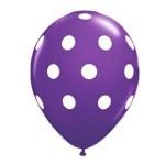 "Mytex 12"" Inch AO White Polka Dots Violet ~ 10pcs"