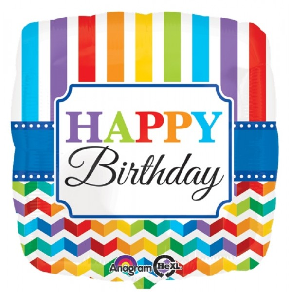 "Birthday Balloons - Anagram 17"" Lnch HBD Bright Stripe & Chevron"
