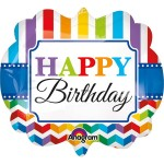 "Anagram 25"" Inch Supershape Birthday Bright Stripes & Chevron"