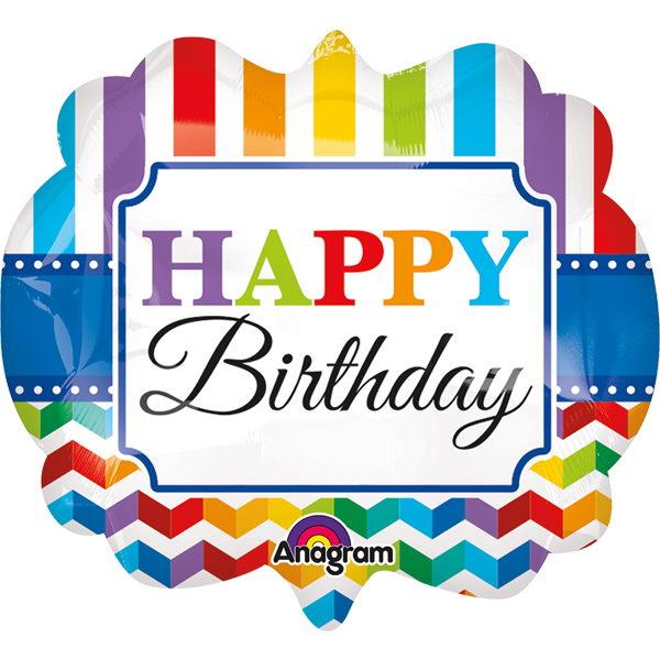 "Birthday Balloons - Anagram 25"" Inch Supershape Birthday Bright Stripes & Chevron"