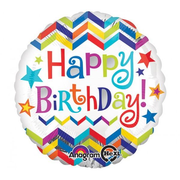 Birthday Balloons - Anagram 17 inch HBD Chevron Star